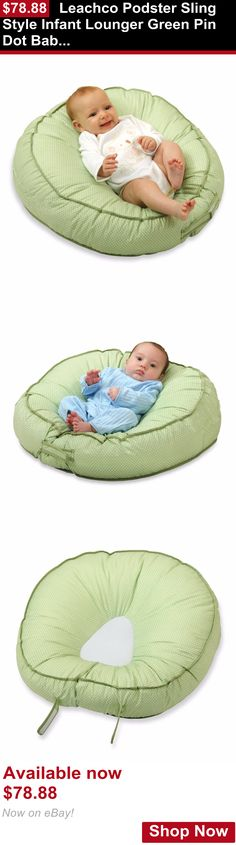 Baby Safety Sleep Positioners: Leachco Podster Sling Style Infant Lounger Green Pin Dot Baby Support Adjustable BUY IT NOW ONLY: $78.88