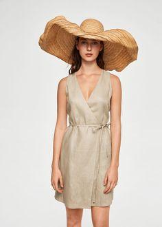 Φόρεμα κρουαζέ λινό | MANGO ΜΑΝΓΚΟ