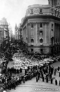 Death of Eva Peron The first batch of wreaths and floral tributes received at the Ministry of Labour and Welfare in Buenos Aires after the death of Eva Peron , who lies in state in the building . 6th August 1952