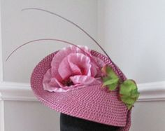Purple Racing Hat with Pink Rose Flower - Kentucky Derby - Ascot - Ladies Day - Edit Listing - Etsy Ascot Ladies Day, Pink Rose Flower, Kentucky Derby, Mother Of The Bride, Headpiece, Tea Party, Coin Purse, Racing, Hat