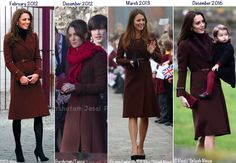 This is the 5th time we've seen Kate wearing the piece. Previous occasions include the Duchess's visit to Liverpool on Valentine's Day in 2012; as mentioned above, Christmas Day of 2012; and also for engagements in Grimsby in 2013. It was also worn at Balmoral in September 2013, but photos from that day are of Kate inside a car and little is seen of the garment.