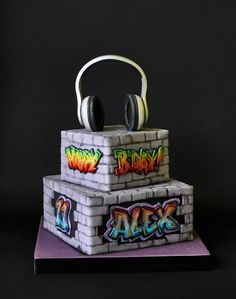 Graffiti Cake Hand painted, all edible.
