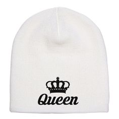 Queen Embroidered Knit Beanie