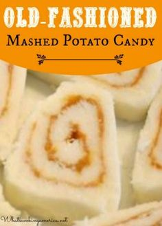 Mashed Potato Candy is an unique and unusual candy recipe. This is also a great recipe to use up extra mashed potatoes. Candy Recipes, Holiday Recipes, Great Recipes, Dessert Recipes, Favorite Recipes, Holiday Foods, Fudge Recipes, Holiday Fun, Mashed Potato Candy