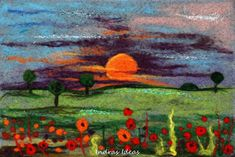Needle Felted Sunset and Poppies by Indrasideas.