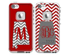 Monogrammed LifeProof Fre iPhone 5 or iPhone 4/4s Phone Case - Chevron Alabama Football Crimson & Gray Design Phone Case on Etsy, $99.00