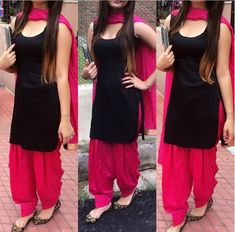 Pure Cotton Plain Patiala Suit Dupatta Material ( Pink, Black ) contact us jagjit singh 9417191562 Patiala Suit Designs, Kurta Designs Women, Kurti Neck Designs, Kurti Designs Party Wear, Salwar Designs, Black Salwar Suit, Patiala Salwar Suits, Salwar Suits Party Wear, Dress Indian Style