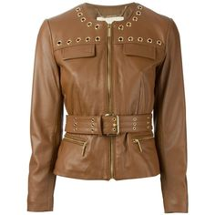 Michael Michael Kors Belted Jacket ($413) ❤ liked on Polyvore featuring outerwear, jackets, casacos, brown, jacket with belt, 100 leather jacket, brown jacket, genuine leather jacket and belted jacket