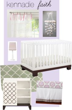 purple, lavender nursery- I like the sheer curtains w/ ribbons tied on