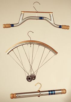 The set of three includes parts taken from the wheel, frame and handlebar consequently being the names for each of the three products. Each of them are finished with quality wood and use minimal materials. The hooks are created from spokes taken from the wheels and most parts are held together purely by the tight fit as they slot into each other.