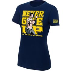 Shop John Cena 10 Years Strong Women's Authentic T-shirt, Navy, Free delivery and returns on eligible orders. Wwe Shirts, John Cena, Strong Women, Blue Tops, 10 Years, Tees, Polyvore, Mens Tops, T Shirt
