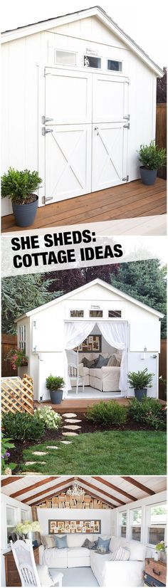 The Dutch doors, the gabled bookcase, the mini-deck in front so many lovely details make this she shed such an inviting backyard retreat. See how this gorgeous little getaway came together with the help of the Home Depots Home Services team. Read more o
