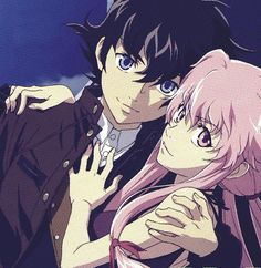 Yuki and Yuno look like a proper mature badass pair. ~Mirai Nikki <<< They really did look badass during this part.