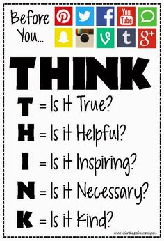 Probably the most pinned posts and images on this blog are those that include the Before you Speak: THINK posters. I created the firs...