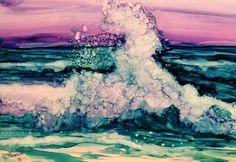 Alcohol ink seascape. by Francine Dufour Jones