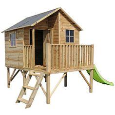 Kinderspielhaus aus Holz LUKA mit Rutsche apfelgrün
