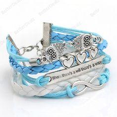 Vintage Silver Plated 8 Owl Blue+White Bracelet Wristband M705