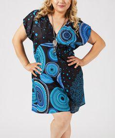 Another great find on #zulily! Blue & Black Geometric Empire-Waist Dress - Plus #zulilyfinds