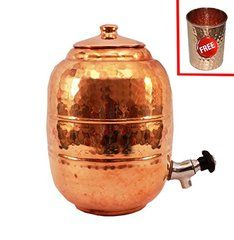 """Pure Copper water pot Color: copper, Material: pure copperWeight:1410 gram, Height -12.0"""", Width/diameter - 8.5"""", Capacity - 6500 With A Hammered Glass"""