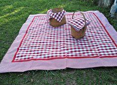 Toalha Piquenique em tecido xadrez renaux vermelha 100% algodão. Dupla face.