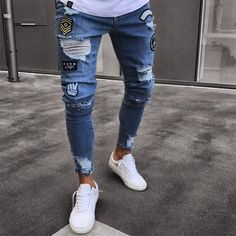 JEANS MEN'S RIPPED SKINNY JEANS DESTROYED FRAYED SLIM FIT CASUAL – myshoponline.com