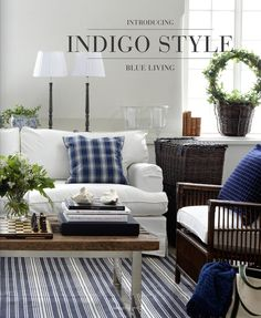 Cottage Chic Blue & White Living Room  eMagazine Publication