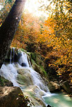 Deep forest waterfall in Kanchanaburi, Thailand (Huay Mae Khamin Waterfall);  photo by Patrick Foto :), via Flickr