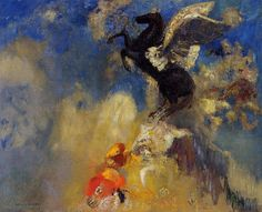 "artist-redon: "" The Black Pegasus via Odilon Redon Medium: oil on canvas"""