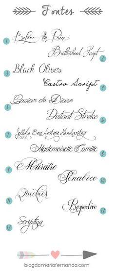 Truque do Calígrafo Fontes Grátis para Convite de Casamento   http://blogdamariafernanda.com/truque-do-caligrafo-fontes-gratis-para-convite-de-casamento