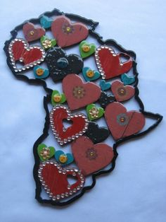 Africa wooden cutout with hearts