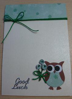 Stampin UP cute handmade Good Luck card featuring by SarahLouCards Good Luck New Job, Good Luck For Exams, Good Luck Cards, Sequin Cards, Goodbye Cards, Owl Punch, Punch Art, New Job Card, Owl Card
