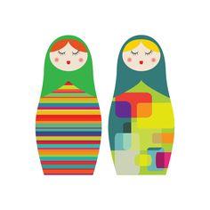 Matryoshka Russian Dolls -  giclee print - fine art paper - 50x50cms. $80,00, via Etsy.