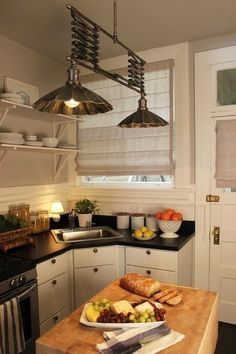 black countertops, white cabinets
