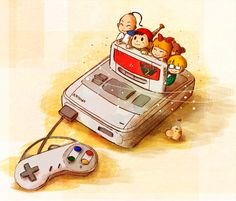 Ness, Jeff, Paula, Mr. Saturn and Poo in a SNES.