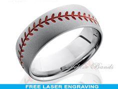 Hey, I found this really awesome Etsy listing at https://www.etsy.com/listing/214918155/titanium-baseball-wedding-ringmens