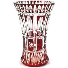 Vintage Cranberry Cut Glass Vase