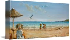 """""""Grandpas Coming"""" by Yvonne Ayoub, London, England/Skiathos, Greece // from an original painting in oil on canvas, size 120 x 50 cm showing a beach scene with my children playing under the watchful eye of their Grandma, and Grandpa on his yacht on the horizon // Imagekind.com -- Buy stunning fine art prints, framed prints and canvas prints directly from independent working artists and photographers."""