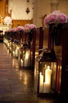 Church wedding aisle decor with flowers and big lanterns with candles Wedding Aisles, Our Wedding, Dream Wedding, Wedding Church, Trendy Wedding, Church Ceremony, Indoor Ceremony, Indoor Wedding, Wedding Hymns