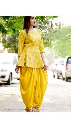 Dhoti Style Crop Top In Yellow
