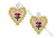Rose Bud Scroll Heart Earring Bead Pattern By ThreadABead