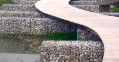 diy gabion bridge - Google Search Landscape Architecture, Landscape Design, Garden Art, Garden Design, Gabion Wall, Beachfront Property, Timber Structure, Architectural Section, Pedestrian Bridge