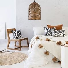 Hot selling Beautiful Moroccan Pompom Blanket, Pom Poms, Boho Blanket, Bed Cover, White blanket with Beige Pompom Bohemian Bedroom Decor, Bohemian Interior, Home Interior, Home Decor Bedroom, Bedroom Ideas, Modern Bedroom, Bedroom Inspiration, Bedroom Inspo, Girls Bedroom