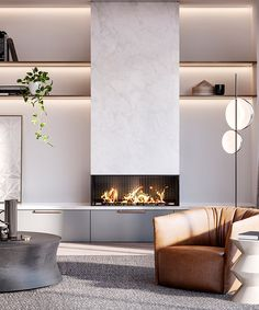 C.Kairouz Architects have created luxury Melbourne residences which capture the essence of modern living. A contemporary neutral color scheme with bespoke fireplaces & custom joinery offering interior design detailing that is second to none by Mim Design. Click for more. #interiordesign #furniture #fireplace #ideas #inspo #livingroom #decor #light #custom #shelving #storage #architecture #apartment #residence #house #design