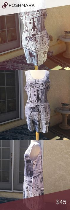 """Carin Sport dress Fun and sassy newspaper print of New York news and picture of downtown  New York.inseam to hem 26"""",armhole circumference 26""""round. Labels size 3X, runs very small, I am a size 12 and it fit me the,armholes were a bit large. Hip measurement stretches to size 40.86%poly,4%spandex.NWOT Dresses Midi"""