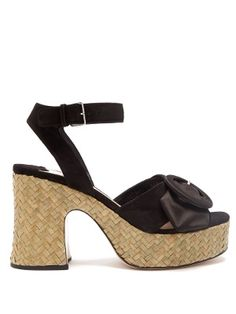 93bf6265e51 Buckle-detail suede and satin platform sandals