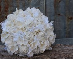 White burlap roses and hydrangeas bouquet Burlap and Lace Bridal Bouquet with pearl accents for rustic, country wedding by GypsyFarmGirl