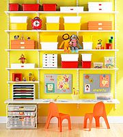 boxes and shelves with little things on them allow you to pick only things that match the room's colour scheme