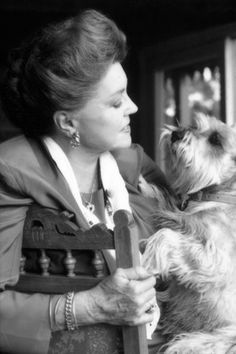 """Esther Williams and her beloved schnauzer, Max.  Esther would sing the """"Indian Love Call"""" and Max would sing along!"""