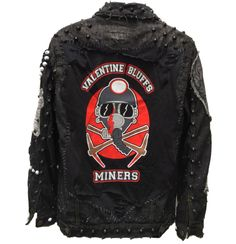 Distressed, denim, studded, rocker, horror themed jackets from ChadCherryClothing.