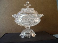 """Belmont 100 Compote Daisy & Button Pressed Glass Base and Lid EAPG 1886. approx. 10""""H x 9""""D"""